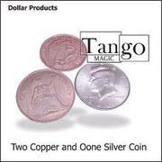 Two copper and one silver coin